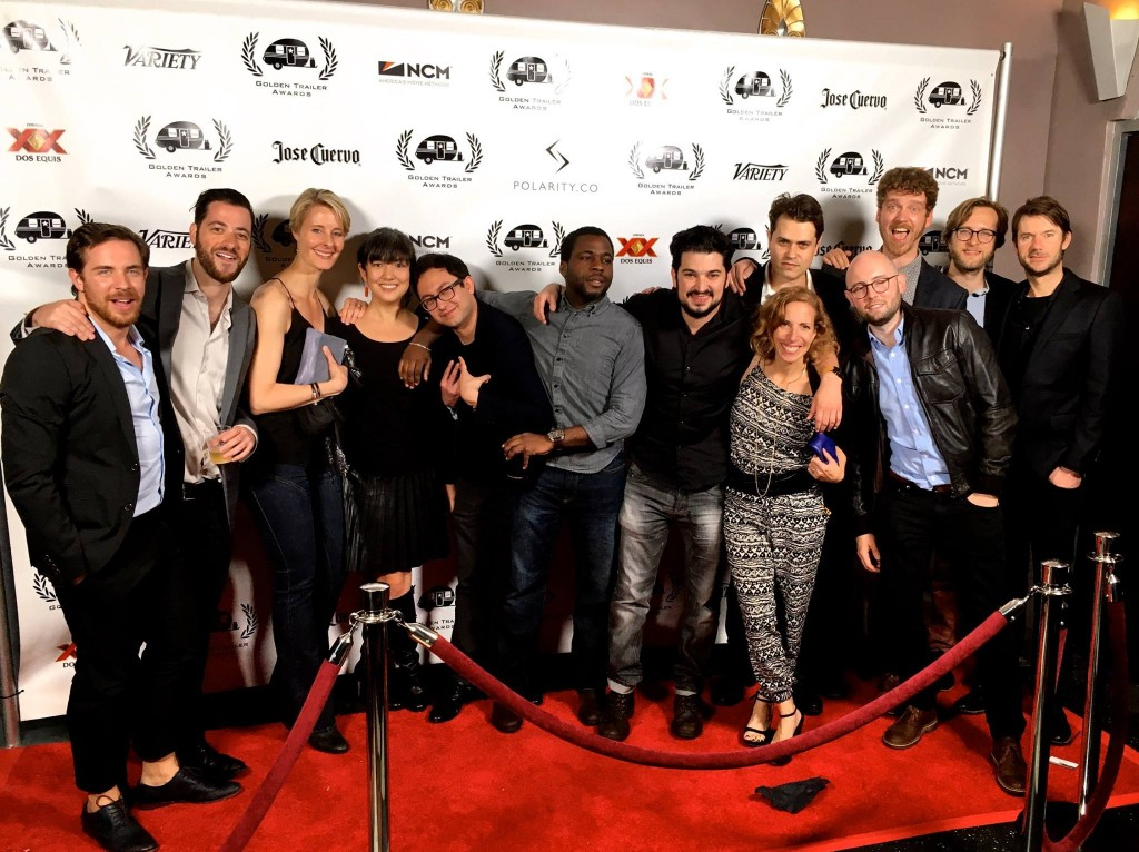 Taylor Engel and Motive crew at the Golden Trailer Awards